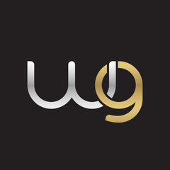Initial lowercase letter wg, linked overlapping circle chain shape logo, silver gold colors on black background