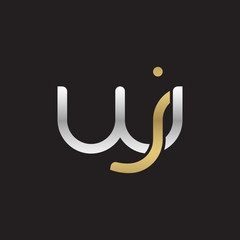 Initial lowercase letter wj, linked overlapping circle chain shape logo, silver gold colors on black background