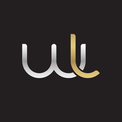 Initial lowercase letter wl, linked overlapping circle chain shape logo, silver gold colors on black background