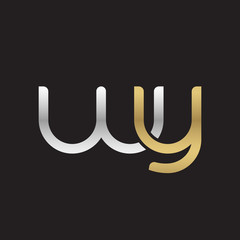 Initial lowercase letter wy, linked overlapping circle chain shape logo, silver gold colors on black background