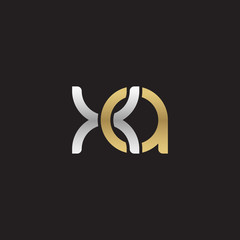 Initial lowercase letter xa, linked overlapping circle chain shape logo, silver gold colors on black background