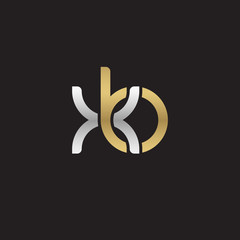 Initial lowercase letter xb, linked overlapping circle chain shape logo, silver gold colors on black background