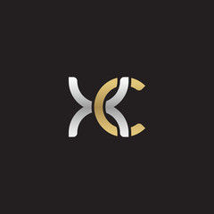 Initial lowercase letter xc, linked overlapping circle chain shape logo, silver gold colors on black background