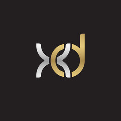 Initial lowercase letter xd, linked overlapping circle chain shape logo, silver gold colors on black background