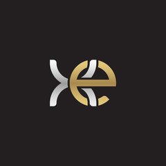 Initial lowercase letter xe, linked overlapping circle chain shape logo, silver gold colors on black background