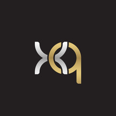 Initial lowercase letter xq, linked overlapping circle chain shape logo, silver gold colors on black background