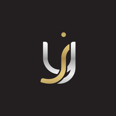 Initial lowercase letter yj, jy, linked overlapping circle chain shape logo, silver gold colors on black background