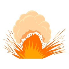High powered explosion icon, cartoon style