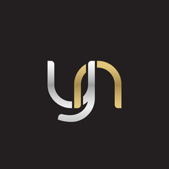 Initial lowercase letter yn, linked overlapping circle chain shape logo, silver gold colors on black background