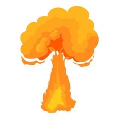Terrible explosion icon, cartoon style