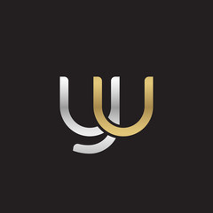 Initial lowercase letter yu, linked overlapping circle chain shape logo, silver gold colors on black background