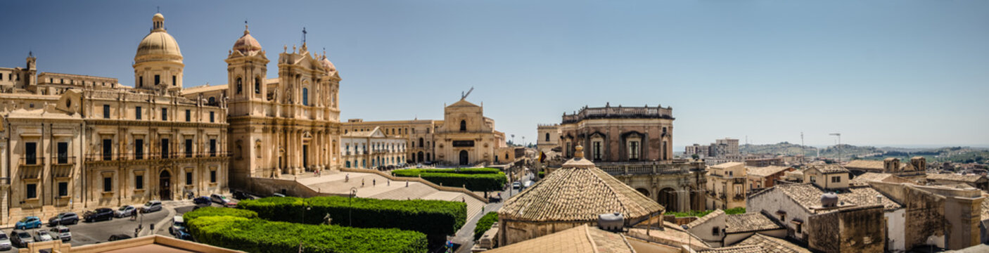Panoramic of the 17th century Baroque town of Noto on the east coast of Sicily.