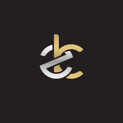Initial lowercase letter zk, linked overlapping circle chain shape logo, silver gold colors on black background