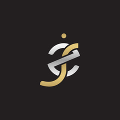 Initial lowercase letter zj, linked overlapping circle chain shape logo, silver gold colors on black background