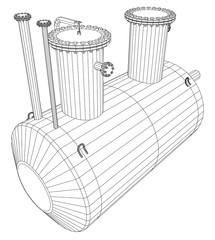 Industrial equipment capacity. Wire-frame. EPS10 format. Vector rendering of 3d.
