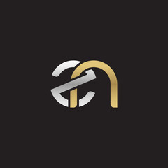 Initial lowercase letter zn, linked overlapping circle chain shape logo, silver gold colors on black background