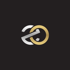 Initial lowercase letter zo, linked overlapping circle chain shape logo, silver gold colors on black background