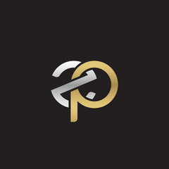 Initial lowercase letter zp, linked overlapping circle chain shape logo, silver gold colors on black background
