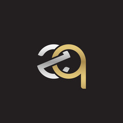 Initial lowercase letter zq, linked overlapping circle chain shape logo, silver gold colors on black background