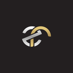 Initial lowercase letter zr, linked overlapping circle chain shape logo, silver gold colors on black background