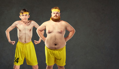 Comical and funny fat and thin athletes.