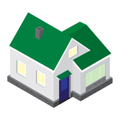 The vector 3D model of the house in an isometric projection.