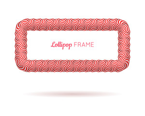 Lollipop red rectangle frame. Candy design for photo album and scrapbook to store favorite memories and pictures. Realistic vector illustration on white background