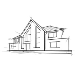 Architectural Drawing of a privat house. Vector.