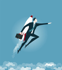 Superhero Businessmen flying on the rocket. Concept of success, leadership and victory in business.