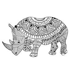 Rhino zentangle stylized, hand drawn, black on white