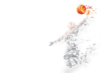 Abstract low polygon basketball player jumping dunking wireframe mesh on white background