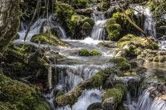 Waterfalls in a mountain stream
