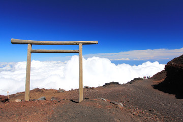 Torii gate at Mountain Fuji climbing trail.