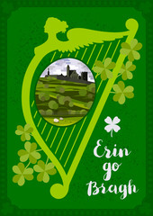 Aluminium Prints Green Vector greeting card. Harp, Irish landscape with Cashel castle, clover leaves and lettering quote.