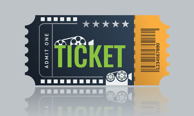 Cinema ticket sample template design. Trendy Vector.