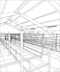 Abstract industrial building constructions indoor. Tracing illustration of 3d.