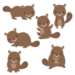Set of cute beavers