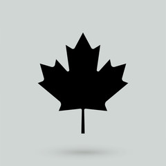 Canadian maple leaf icon with shadow isolated on a white background, stylish vector illustration for web design EPS10