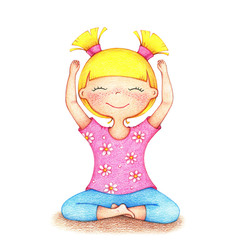 hands drawn illustration of young smiling girl in pink t-shirt and blue shorts doing yoga by the color pencils