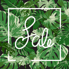 sale promotion with tropical green monstera leaf, natural vector illustration background
