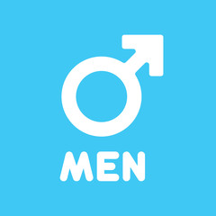Gender symbol with head of man. Male sign icon isolated on background. Vector stock.