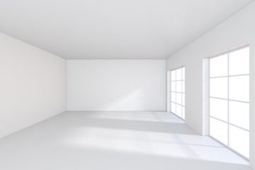 Empty white room with large stained-glass windows. 3D rendering.