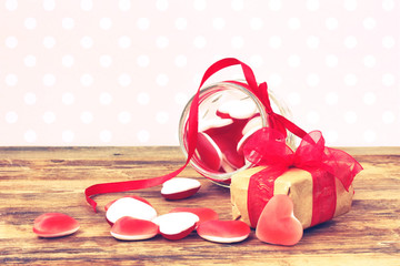 Jelly candy shape heart and gift box