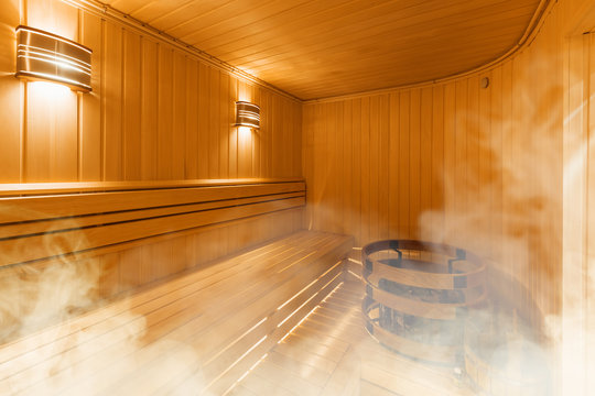 Interior of Finnish sauna, classic wooden sauna