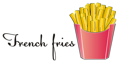Food, fast, fast food, illustration, American, dish,  street food, snack, popular, Restaurant, French fries, words, name