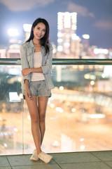 Asian young woman in Hong Kong city