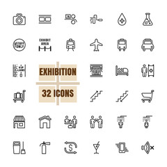 Exhibition Community vector illustration thin line 48x48 Pixel Perfect 32 icon set for business, advertising, technology, photograph, printing, movies, finance, reception, information. Editable Stroke