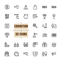 Exhibition Community vector illustration thin line 48x48 Pixel Perfect 32 icon set for business, assembly, community, family, money saving, transport, logistics, finance, information. Editable Stroke