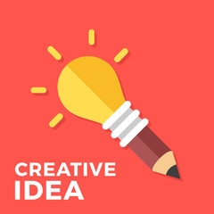 Creative idea. Glowing light bulb connected to pencil. Creativity, great solution, new idea concepts. Vector lightbulb. Modern flat design vector illustration