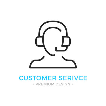 Customer service icon. Human silhouette with headset, man with headphones and microphone. Technical support, call center, customer support logo. Vector thin line icon